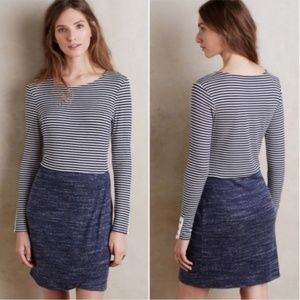 Anthro Dolan Long Sleeve Fitted Striped Dress Blue